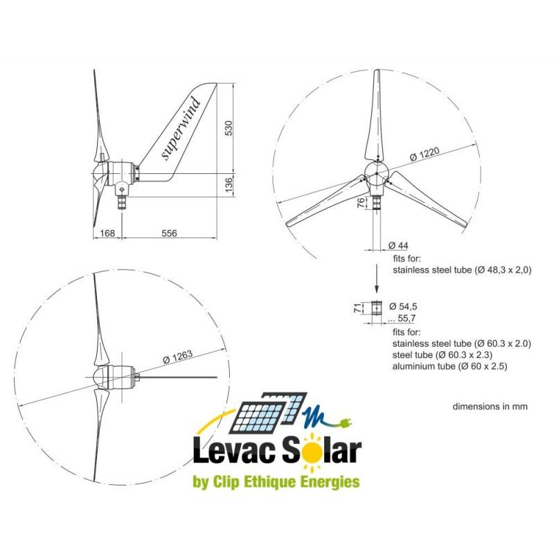 dimensions eolienne 350W